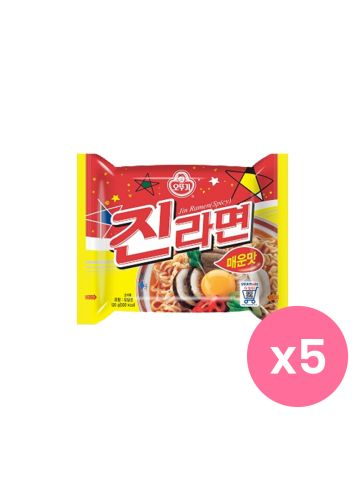 OTTOGI Jin Ramen Instant Noodles Spicy Set of 5