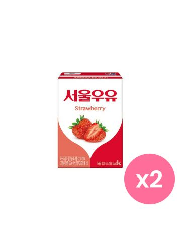 SEOUL MILK Strawberry Korean Drink Set of 2