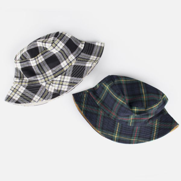 Jieun Plaid Reversible Bucket Hat