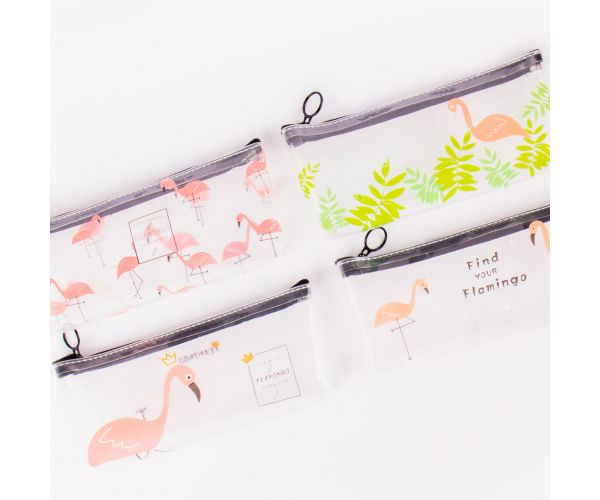 Flamingo Transparent Pencil Case