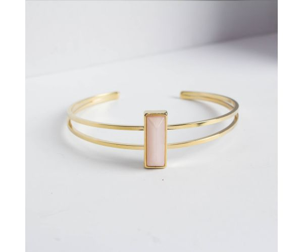 Thin Marble Bar Cuff Bracelet in Gold