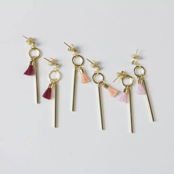 Gold Vertical Bar Dangle Earrings with Tassel