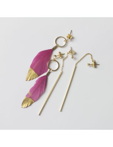 Feather Drop Dangle Earrings Set