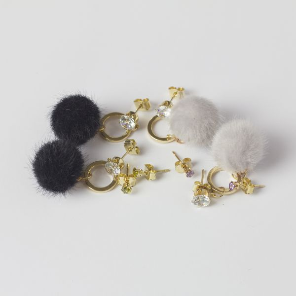 Pompom Flair Dangle Earrings Set