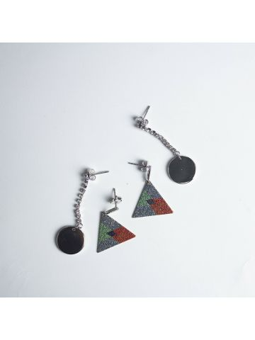 Silver Triangle Statement Earrings Set