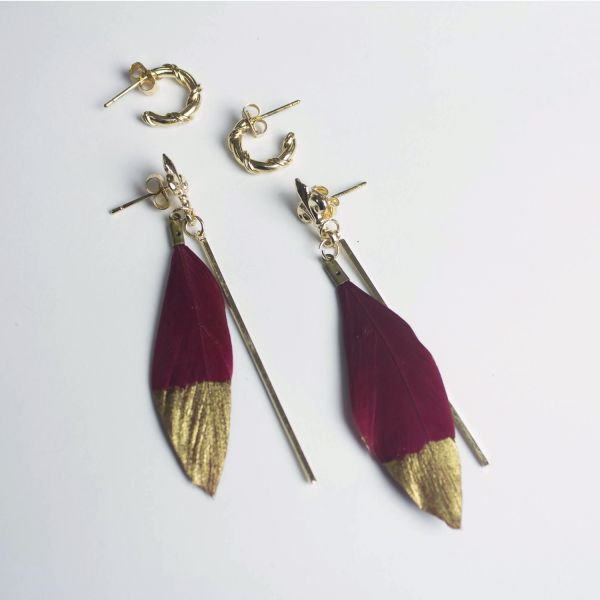 Feather Drop Dangle & Hoop Earrings Set