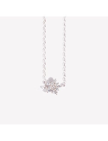 Ahyoon Silver Studded Flower Necklace