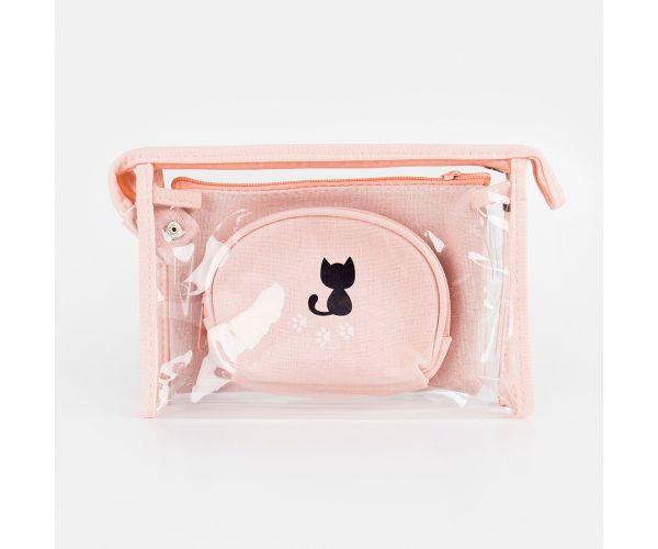3-in-1 Cat Plain Pastel Organizer Pouch