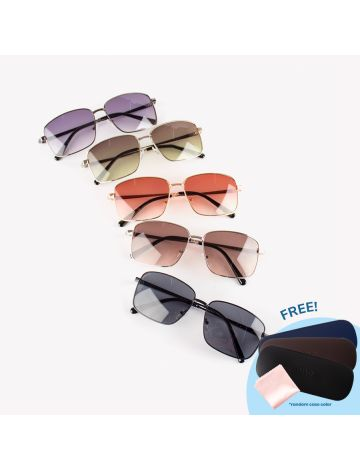 Jiho Square Tinted Sunglasses (with Free Case & Cloth)