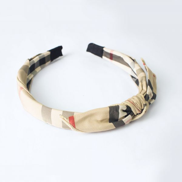 Checkered ribbon headband (Beige)
