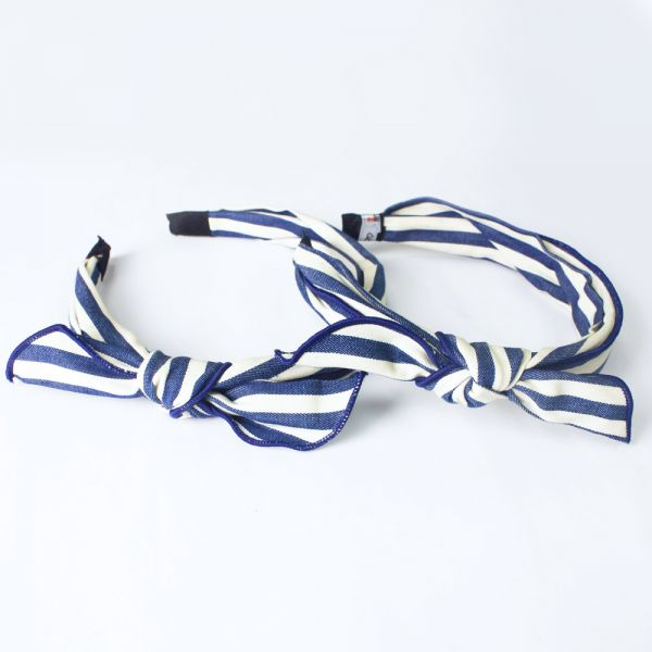 Denim striped headband (Dark blue)