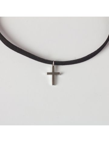 Silver Cross Choker Necklace (with Free Jewelry Box)